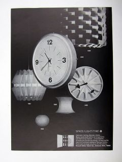 Howard Miller Co George Nelson Lighting Clock Designs 1966 Ad