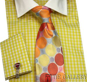 Dress Shirt by Steven Land French Cuffs Cotton Green Checkered DS821Y