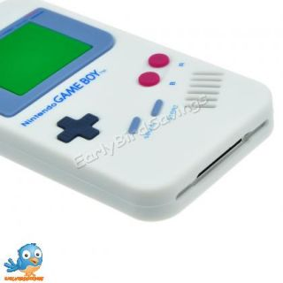 White Game Boy Style Silicone Case Cover Skin for iPhone 4 and 4S 4GS