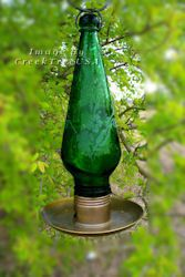 Green Filigree Blown Glass Seed Bird Feeder Parasol New