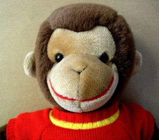 Curious George 18 Gund Plush Stuffed Toy Monkey Red Knit Sweater 1990