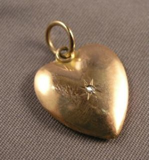 Antique Victorian 10K Gold Tiny Diamond Heart Pendant Charm