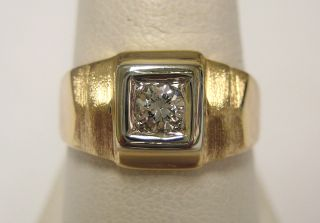 Vintage Estate Gents 14k Yellow Gold Diamond Solitaire Ring
