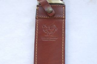 Very Nice Hen Rooster Big Bowie Stag Knife w Leather Belt Sheath