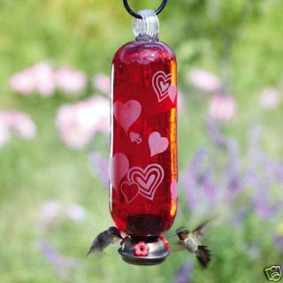 Parasol Red Glass Hummingbird Feeder Amour Hearts New
