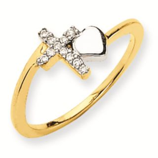 14k Gold Two Tone Diamond Cross Ring