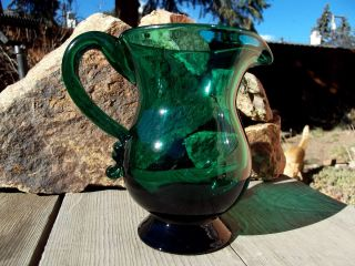 Antique Teal Green Blue Pitcher Blown with Signed W Pontil Pittsburgh