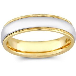 Precious Stars 14k Two tone Gold Mens Milgrain Comfort Fit Wedding
