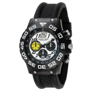 Jacques Farel Chronograph Mens Watch with Black Rubber Band
