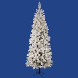 Vickerman Flocked Pacific Pine 7.5 Artificial Pencil Christmas Tree
