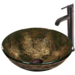 Vigo Sintra Glass Vessel Sink with Single Handle Faucet in Oil Rubbed