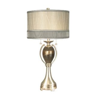 Dale Tiffany Cambridge Two Light Table Lamp in Satin Nickel