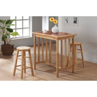 Wildon Home ® 3 Piece Counter Height Bar Table Set with Terracotta