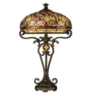 Dale Tiffany Dragonfly Two Light Table Lamp in Antique Golden Sand
