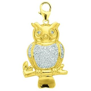 EZ Charms 14K 1.4 Grams Yellow Gold Diamond Owl Charm