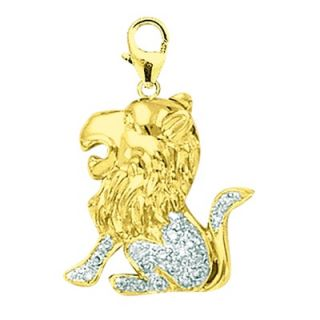 EZ Charms 14K 1.4 Grams Yellow Gold Diamond Lion Charm