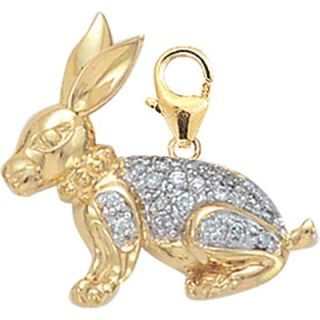 EZ Charms 14K Yellow Gold Diamond Rabbit Charm