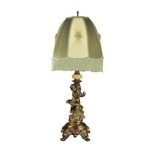 Dale Tiffany Cupid Celadn One Light Table Lamp in Copper Brass