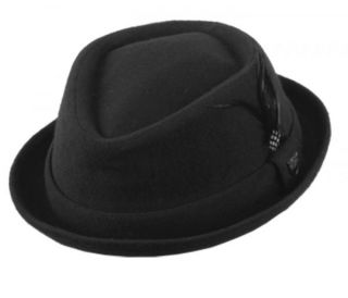 Wool Felt Short Brim Pork Pie Fedora Hats with Feather F1219