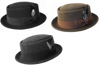 Mens 100 Wool Felt Soft Crushable Pork Pie Fedora Hats HE09