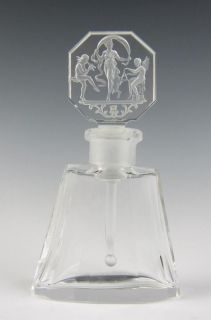 1920 Czech Hoffman Perfume Bottle Intaglio Glass Art Deco Antique