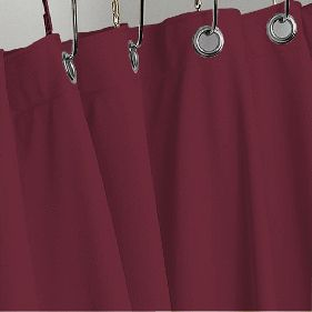 BURGUNDY HEAVY VINYL SHOWER CURTAIN HOTEL WEIGHT METAL GROMMETS