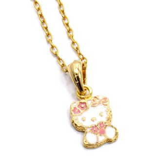 Baby Girl Childs Kids Pink Flower Hello Kitty Pendant Necklace