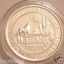 Harrahs 999 Solid Silver Wolf Howling Full Moon 1993