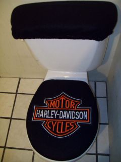 Harley Davidson Symbol Patch on Blue Toilet Seat Cover Set