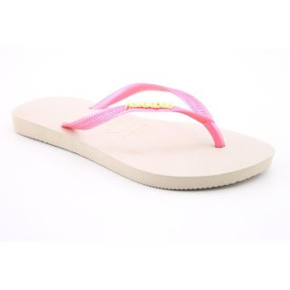 Havaianas Slim Logo Metallic Youth Kids Girls Size 2 Pink Fits Womens