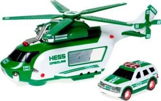 HESS 2012 COLLECTIBLE HOLIDAY HELICOPTOR & RESCUE VEHICLE TOY TRUCK
