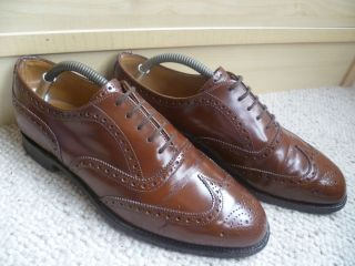 Churchs Cheaney Brogue Sz 8 42 US9 Mens Vtg Handmade Tan Leather
