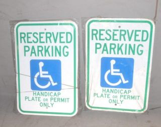 Lot of 5 Brady 3YVD9 Handicapped Reserved Parking Sign