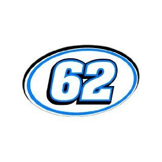 62 Number Jersey Nascar Racing   Blue   Window Bumper Sticker