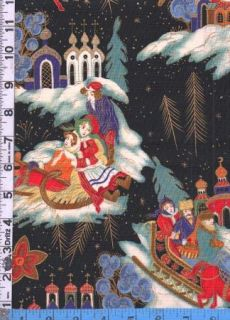 Fabric Henry Troika 2000 Russian Winter Christmas Sleigh Ride Black V