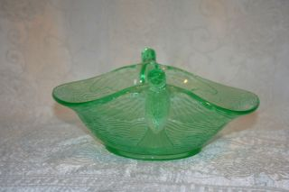 Green Depression Vaseline Glass Hummingbird Bird Bowl Dish