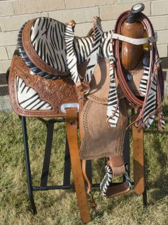 Zebra Western Horse Barrel Racing Leather Saddle Tack w Hay Bag