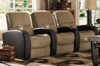 Seatcraft Catalina Home Theater Seating 3 Seats Manual Brown on Brown