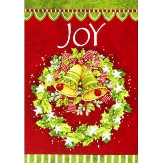 Large Christmas Flag Joy Wreath  28 X 40  For Winter Porch