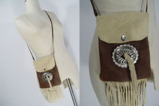 Concho Leather Tribal Crossbody Bag Purse Fringe Boho Hippie Handbags