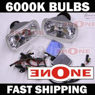 Conversion Kit w Real 6000K H4 Bulbs 7x6 Chrome Housings White