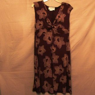 Jessica Howard Petite 14P Polyester Spandex Brown Sleeveless V neck