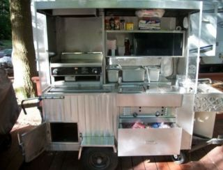 Food Hot Dog Concession Cart w Flat Top Grill