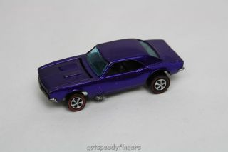 Vintage Mattel Hot Wheels Redline Red Line Custom Camaro, Purple, Hong