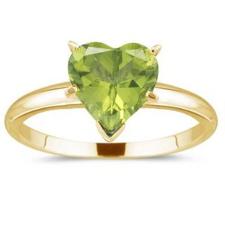 41 Cts Peridot Heart Solitaire Ring in 14K Yellow Gold 8.5 Jewelry