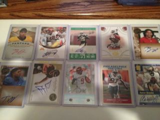 Football Auto Lot of 10 Roy Helu Titus Young Tracy Porter