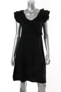 Jessica Howard New Black Ribbed Ruffled V Neck A Line Sweaterdress s