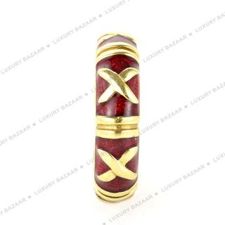 Hidalgo 18K Yellow Gold Red Enamel Ring