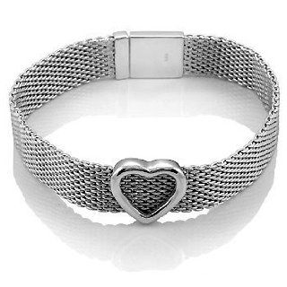 Beautiful Sterling Silver Heart Mesh Bracelet, Includes Gift Box and