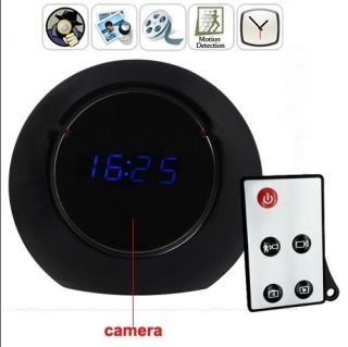 Home Hidden Spy Nanny Mirror Clock Motion Detection Camera Remote Free